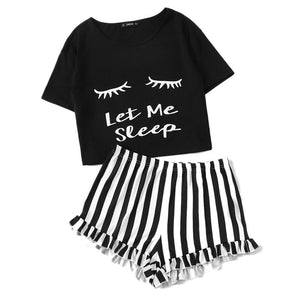 Black Graphic Tee and Frilled Striped Shorts PJs
