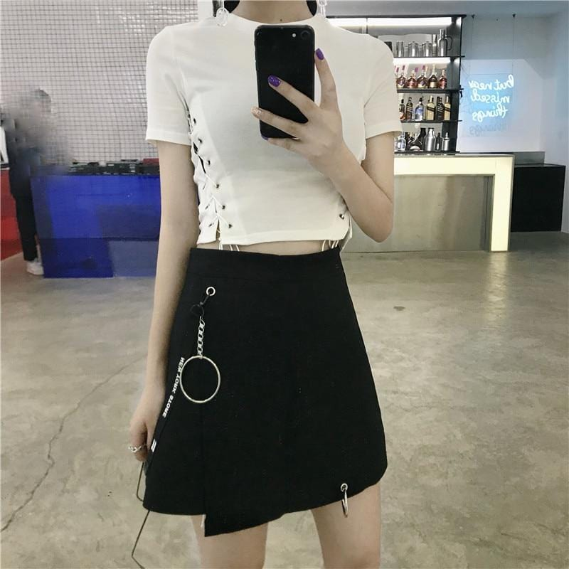 Asymmetrical Skirt With Ring