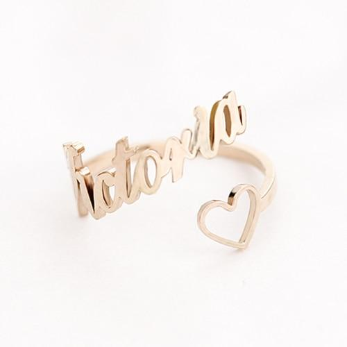 Custom Name Ring With Heart Adjustable Size - Stainless Steel