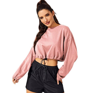 Pink Drop Shoulder Drawstring Hem Crop Pullover