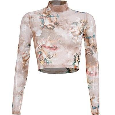 Angel Print Turtleneck Sexy Long Sleeves Mesh Crop Top