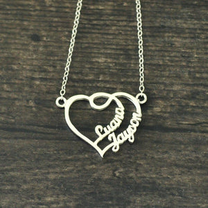 Romantic Double Heart Custom Name Necklace - Stainless Steel