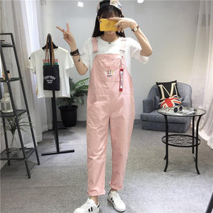 Fish Bone Embroidered Overalls