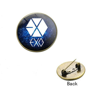 EXO Logo Galaxy Glass Cabochon Metal Pin