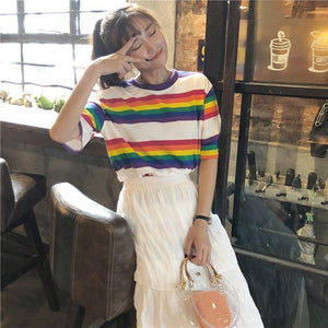 Harajuku Ladies Striped Loose T-Shirt