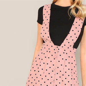 Heart Print Pink Pinafore Dress