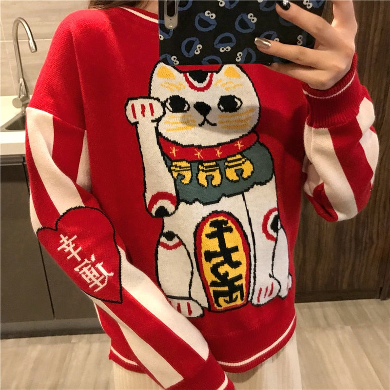 Lucky Cat Knitted Sweater