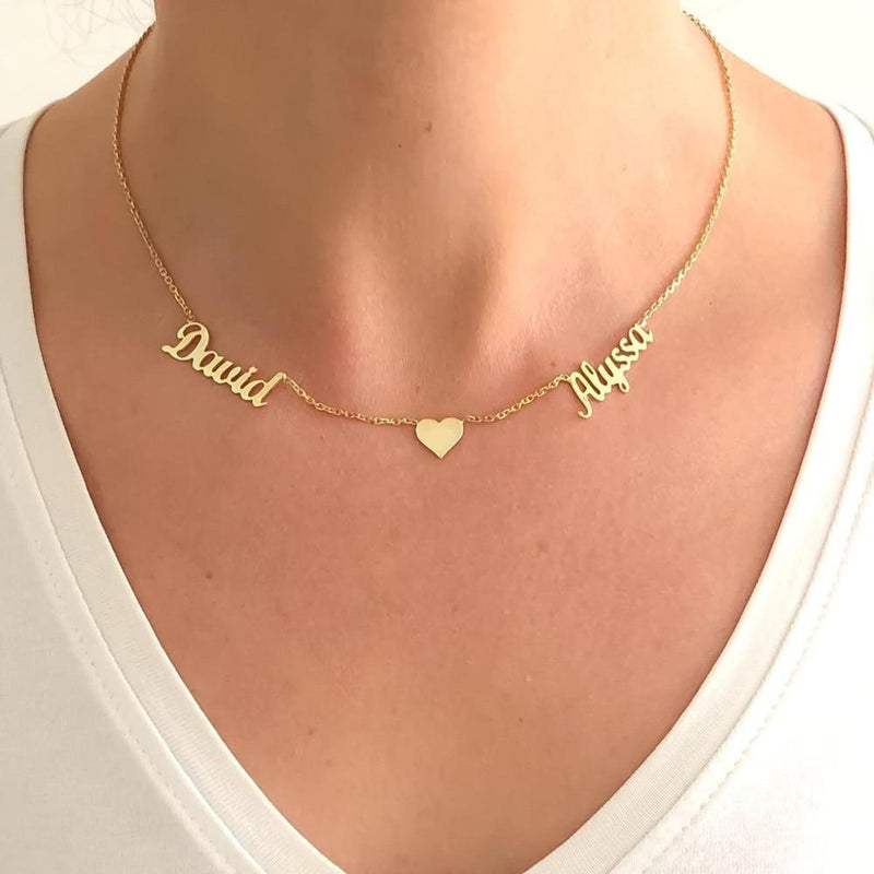 Custom Two Name With Heart Necklace - Stainless Steel
