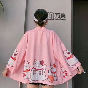 Japanese Kimonos Cat Print Cardigan