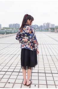 Embroidered Japanese Kimono Blouse Cardigan Devils Night Print