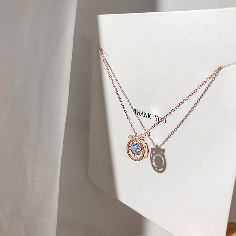 Park Min-young Circle Rose Gold Necklace