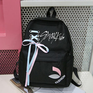 Exo Got7 Monsta X Twice Stray Kids NCT 127 Harajuku Backpack with Ribbon