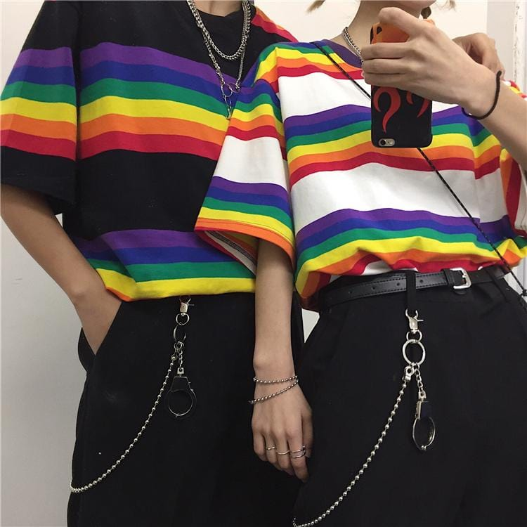 Rainbow Striped Loose Top