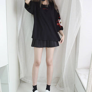 Japanese Vintage Back Bandage Short Sleeve Top