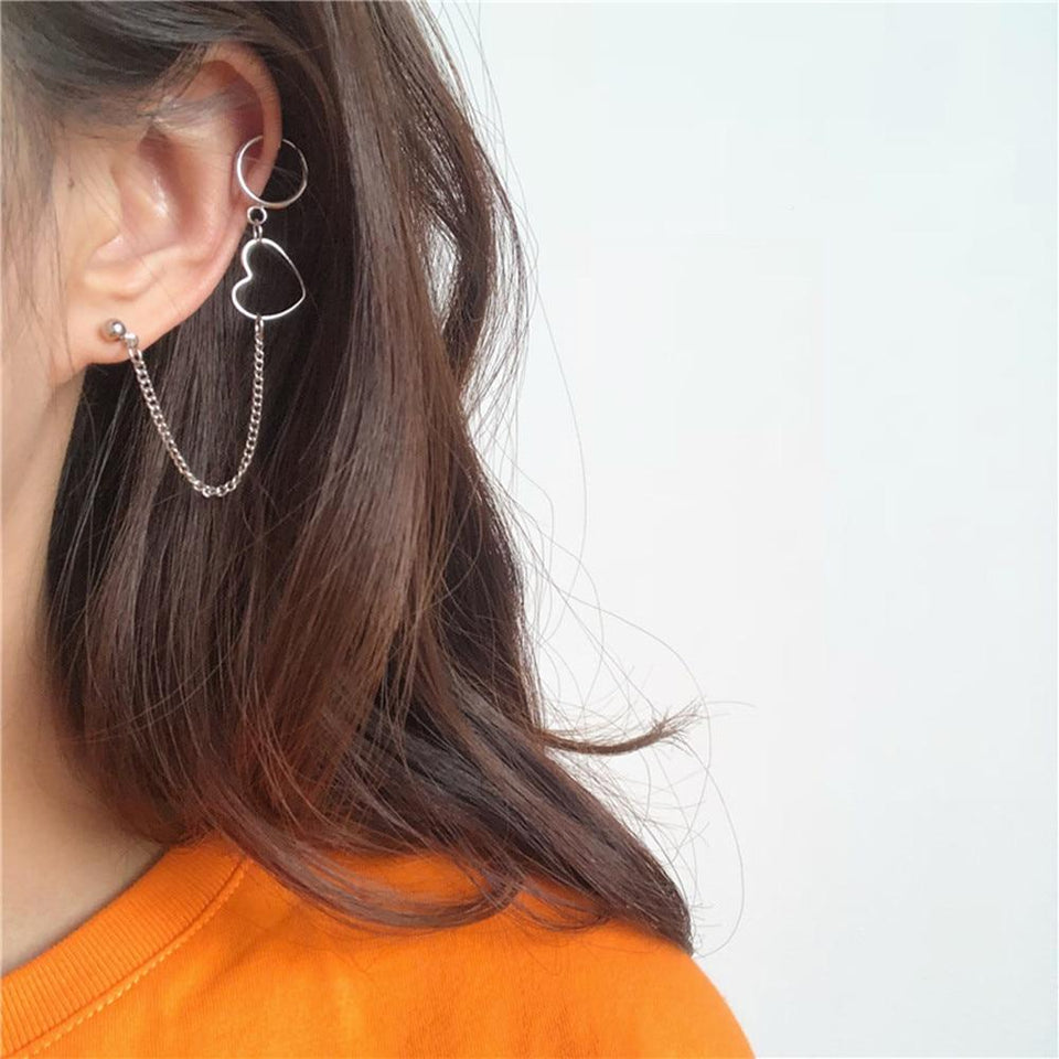 Chain Drop Heart Earring
