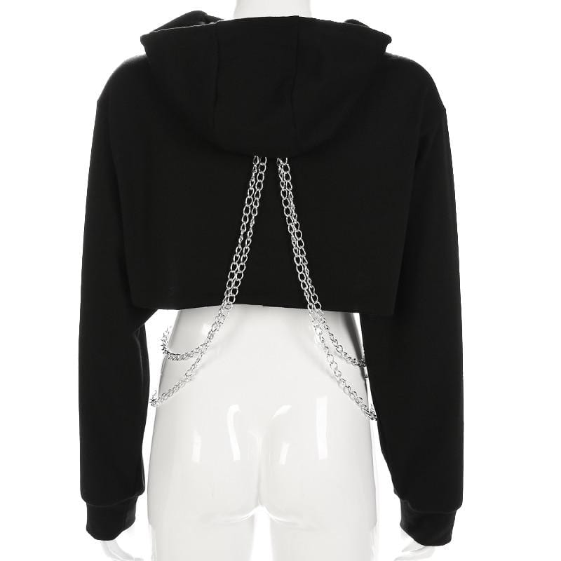 Gothic Sexy Punk Hoodies Crop Top Metal Chain Sweatshirt