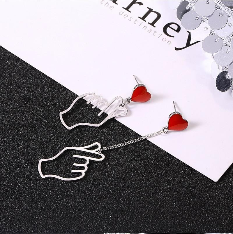 Kpop Hand Love Heart Earrings