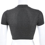 Halter Tube Sexy Mesh Out Short Sleeve Crop Top