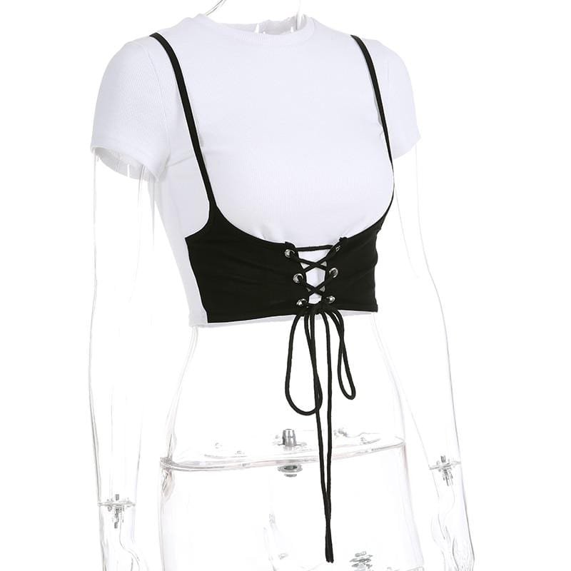 Short Sleeves Sexy Panelled Embroidery Corset Casual Crop Top