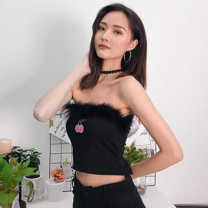 Sleeveless Cherry Black Sexy Crop Tank Top