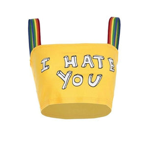 I Hate You Print Sexy Rainbow Strap Summer Sleeveless Crop Top