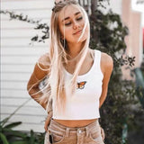 Butterfly Print White Sexy Camisole Crop Top