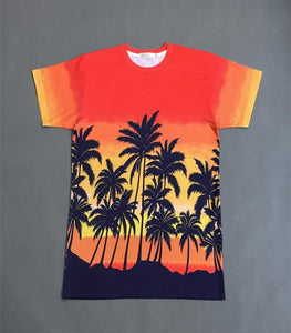 Kpop Hawaiian Coconut Tree Orange Loose T-shirt