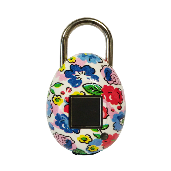 TouchLock Fingerprint Smart Padlock, Floral (White)