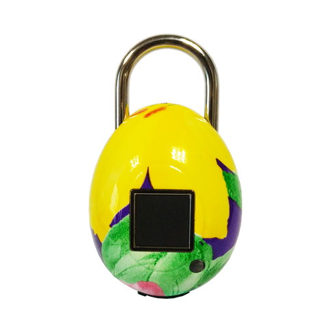 TouchLock Fingerprint Smart Padlock, Floral (Yellow)
