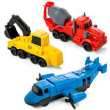 Pull Back Cars Toy | Magnetic Digger, Mixer, Plane 3 in 1 Mix & Match Construction Vehicles