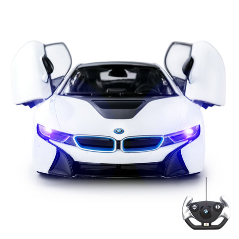 1:14 Licensed BMW i8 RC Car with Opening Doors & Lights, White 27MHz, PL9371