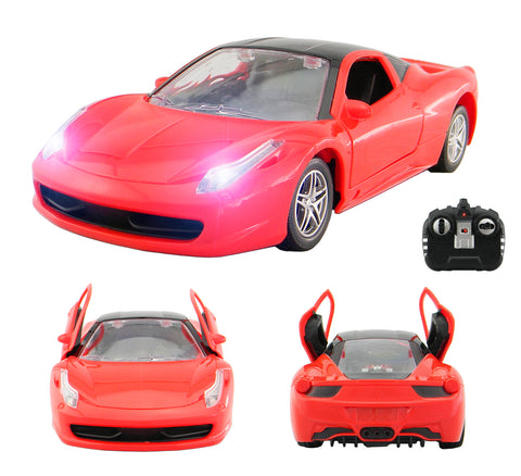 Red RC car with lights
