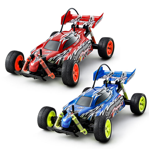 1:18 12kph On Off Road RC Racing Buggy Truggy Twin Pack Kids Toy Cars for Boys Girls, Blue Red PL9114