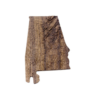 Image of a wooden topographic map of Alabama