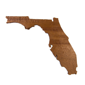 Image of a wooden topographic map of Florida