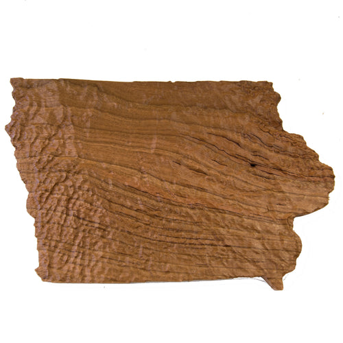 Image of a wooden topographic map of Iowa