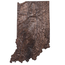 Image of a wooden topographic map of Indiana