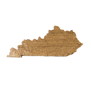 Image of a wooden topographic map of Kentucky