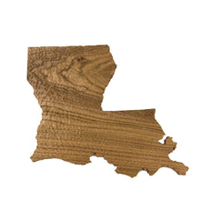 Image of a wooden topographic map of Louisiana