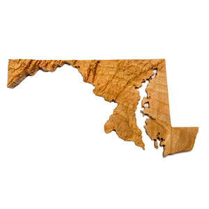 Image of a wooden topographic map of Maryland