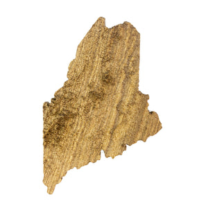 Image of a wooden topographic map of Maine