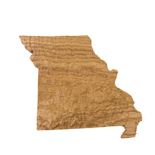 Image of a wooden topographic map of Missouri