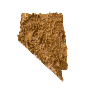 Image of a wooden topographic map of Nevada