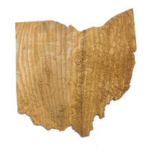 Image of a wooden topographic map of Ohio