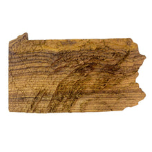 Image of a wooden topographic map of Pennsylvania