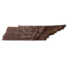 Image of a wooden topographic map of Tennessee