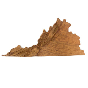 Image of a wooden topographic map of Virginia