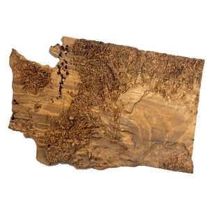 Image of a wooden topographic map of Washington