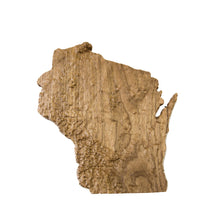 Image of a wooden topographic map of Wisconsin