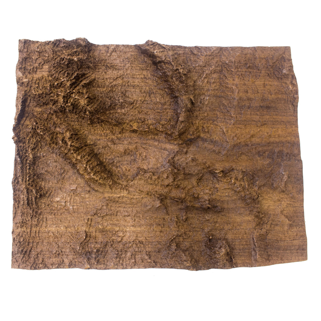 Image of a wooden topographic map of Wyoming